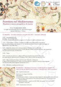 Frontiere nel Mediterrane - Cagliari 12-13 settembre 2016